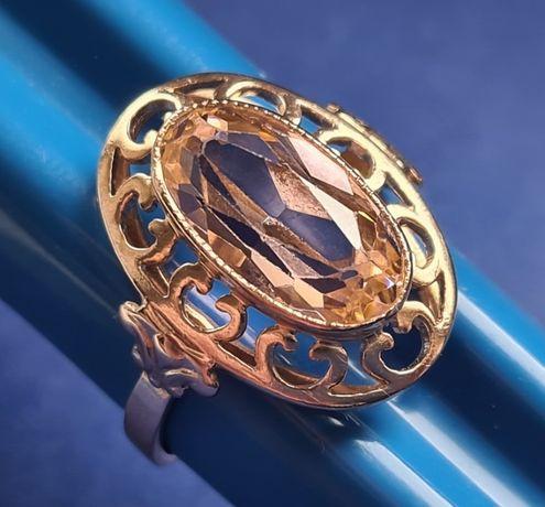 Złoty pierścionek z różowo pudrowym kamieniem 6,20 gr.pr.585 - cudowny