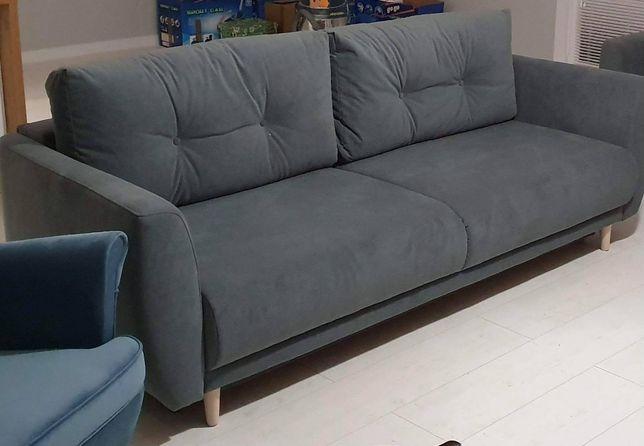 Kanapa rozkładana sofa duża szara siwa z funkcją spania stan bdb