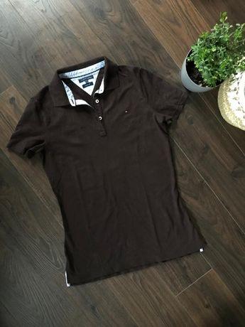 Tommy Hilfiger - Classic Fit - brązowa koszulka polo - rozmiar S