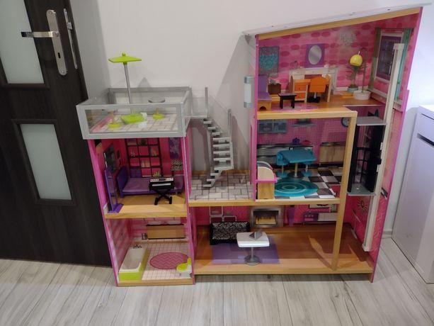 Duży drewniany domek dla lalek barbie z windą tarasem meblami