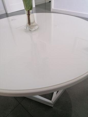 Szkło, blat na stolik hartowane, białe mleczne