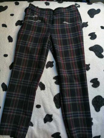 Eleganckie spodnie cygaretki Zara S w kratkę