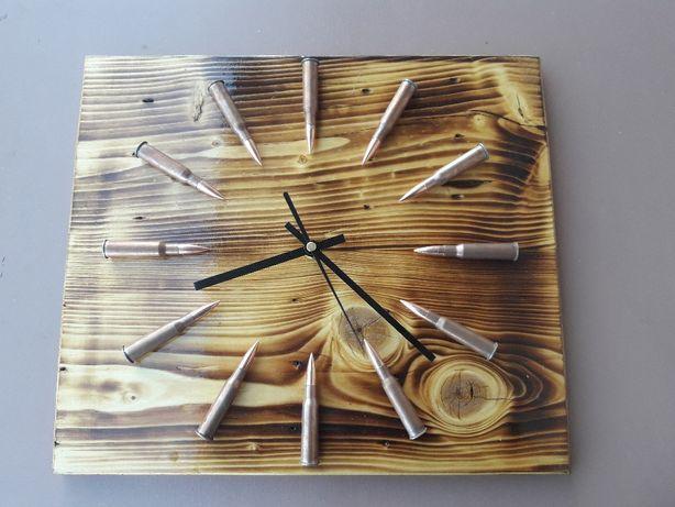 Piękny drewniany oryginalny zegar militarny idealny prezent HIT