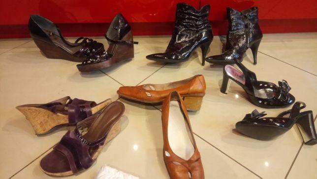 Buty na koturnie nr.40-botki czarne nr.39 -Kozaki czarne wysokie nr.38