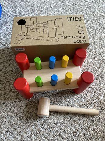 BAJO zabawka młotek wbijanie drewniana przybijanka