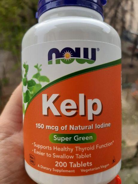 Келп, Йод Для Щитовидной Железы, 150 Мг Kelp, 200 Шт, Now Food