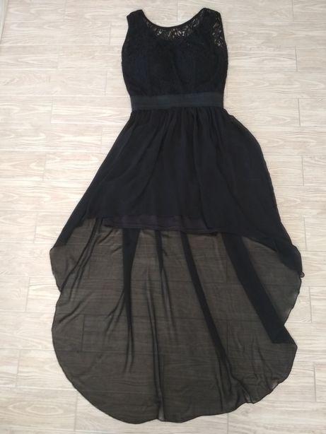 Sukienka czarna M z trenem koronkowa Góra gratis pierścionek