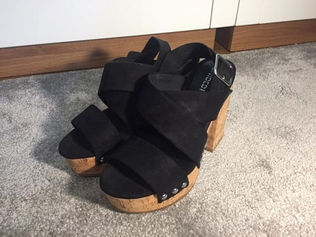 Czarne sandały na korkowej platformie, sandałki 36 H&M nowe