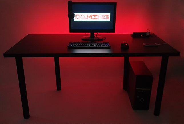 BIURKO GAMINGOWE dla gracza czarne LED USB gniazdo HIT