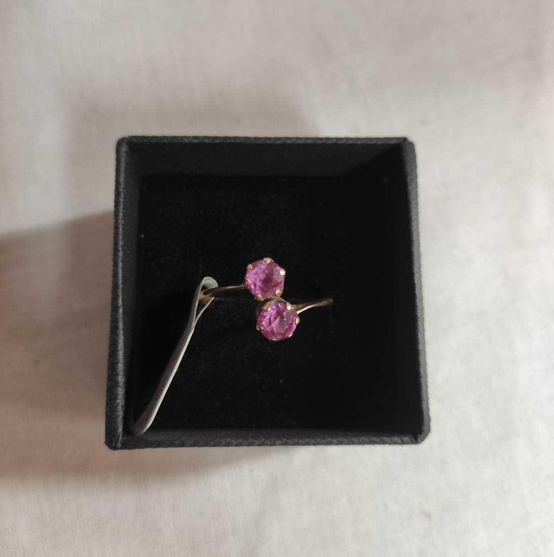 ZŁOTY pierścionek różowe oczko pr.585 rozm.15 Lombard Madej sc