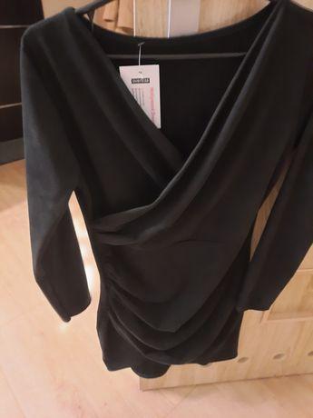 Czarna zamszowa sukienka 36 butik hollywood
