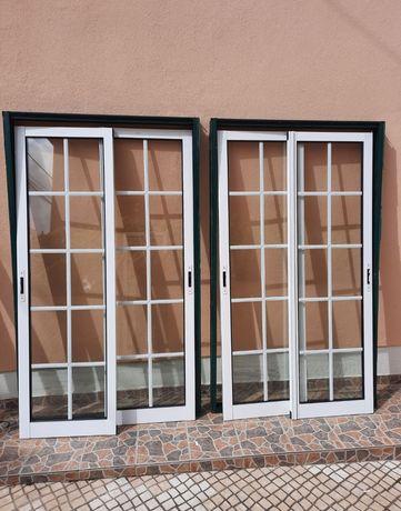 4 conjuntos portas/janelas de  aluminio, vidro duplo.