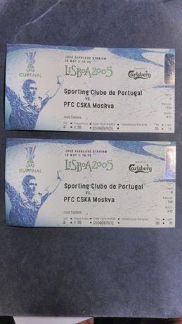 2 Bilhetes Sporting-CSKA - Final da Taça Uefa 2005