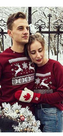 Новогодние свитера family look пара