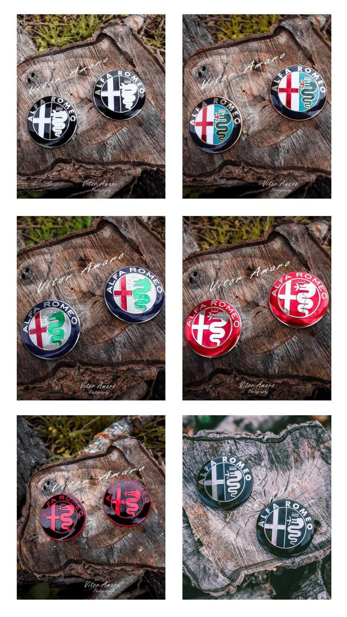 2 Símbolos/Logos em Alumínio Capot/Mala Alfa Romeo (6 Modelos)|NOVOS