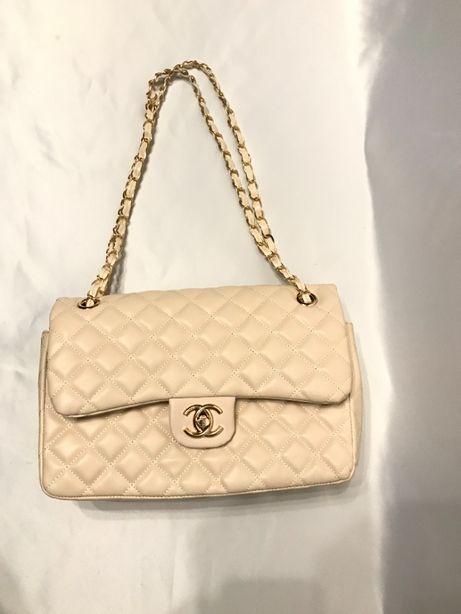 Chanel chanelka torebka torba pikowana beżowa