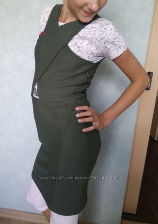 стильное приталенное платье сарафан для девочки 12-13 лет