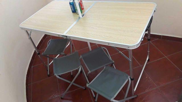 Переносной, портативный комплект стол и 4стула для отдыха на природе.