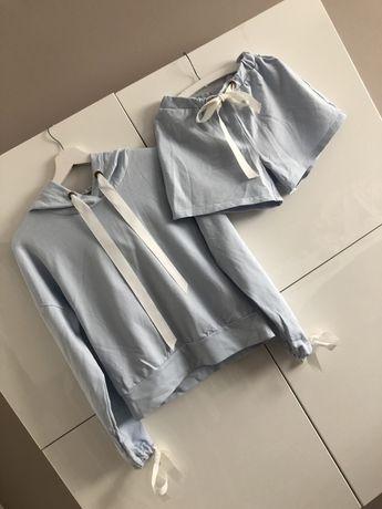 Błękitny Komplet dresowy dres bluza spodenki Varlesca Edan