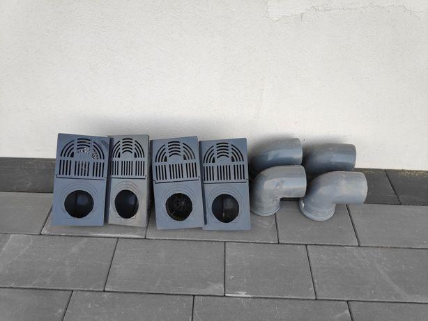 Osadnik rynnowy Galeco Grafitowy z koszyczkiem 4szt + 4 kolanka