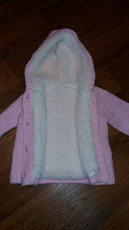 Тёплая кофта 0-4 месяца на девочку, платье, колготки на 3-6 месяцев