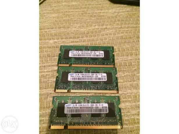Memória RAM portátil 3x512 ddr2 Samsung