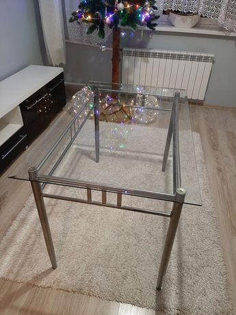 Stół 120x76 metalowy z szklanym blatem