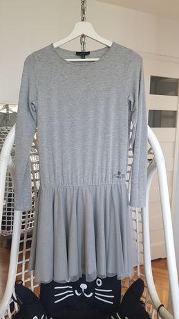 Twin Set szara sukienka z falbanką L