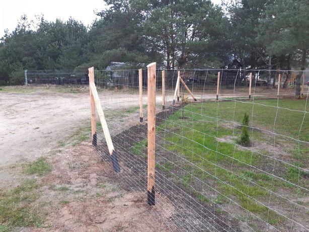 Ogrodzenie Leśne Tymczasowe Budowlane Słupki toczone siatka leśna