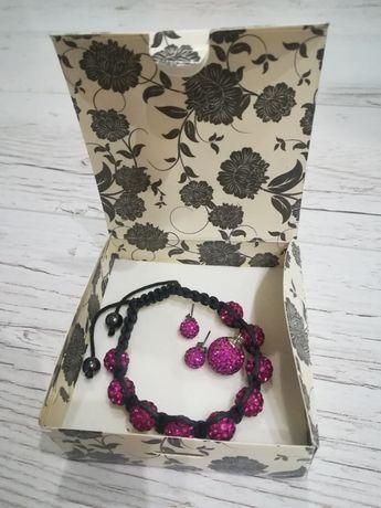 Komplet biżuterii srebrno - różowe kulki