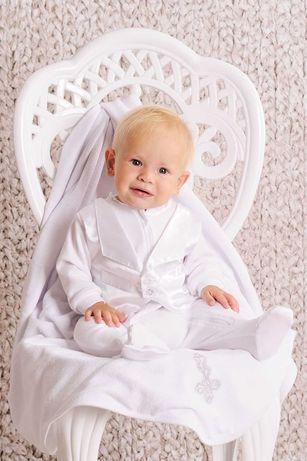 Набор крестильный для мальчика (комбинезон) хлопок, отделка — атлас