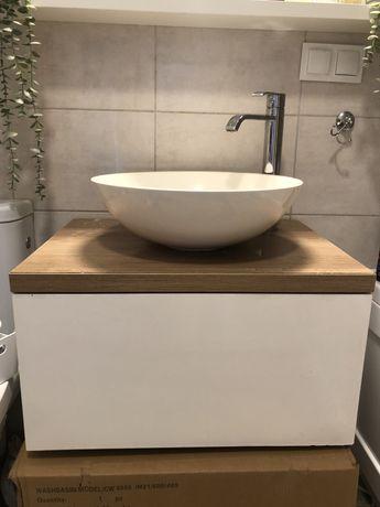 Umywalka miska, szafka z blatem i bateria lazienkowa- komplet