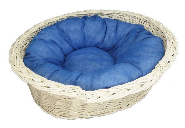 """Zestaw legowisko """"okienko"""" ecru 54 cm + poduszka jasno-niebieska"""