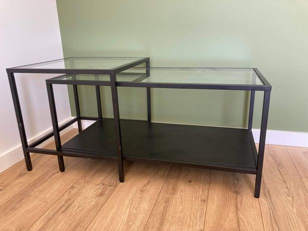 Czarne, metalowe, szklane stoliki 2szt. IKEA Vittsjo