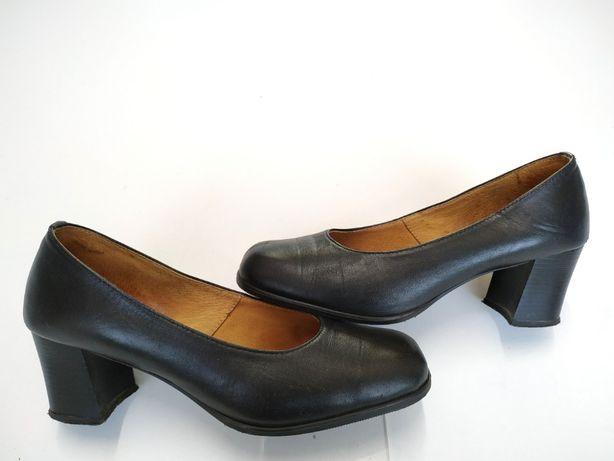 VERO CUDIO r. 38 24,5cm skórzane pantofle czółenka