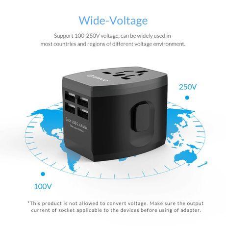 Adapter ładowarka na cały świat USBx4 EU/UK/USA/AUSTRALIA
