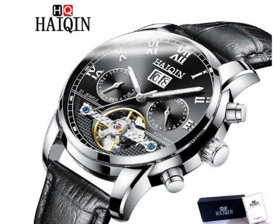 Часы-Хроногроф механические бренд HAIQIN Автоподзавод водонепроницаемы