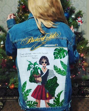 Джинсовый пиджак. Выполнена художественная роспись по ткани