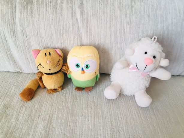 Zestaw pluszakow - kotek, owieczka, ptaszek.