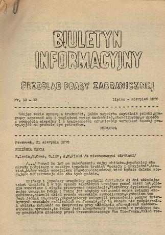 Biuletyn informacyjny. Przegląd prasy zagranicznej nr 12 i 13 1978