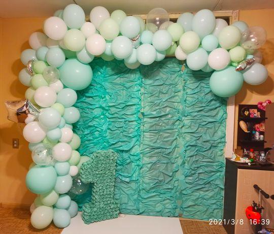 Украшения на день рождение. Единичка фольгированная, шары, цифра, арка