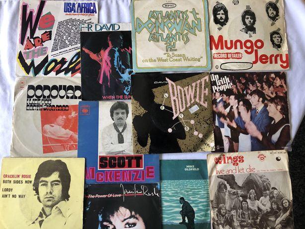 Coleção de 12 singles vinil exitos anos 70