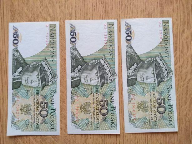 Banknoty PRL 20,50 i 100 złotych