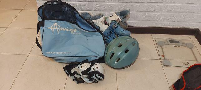 Ролики  amigo 27-30 со шлемом и защитой в сумке