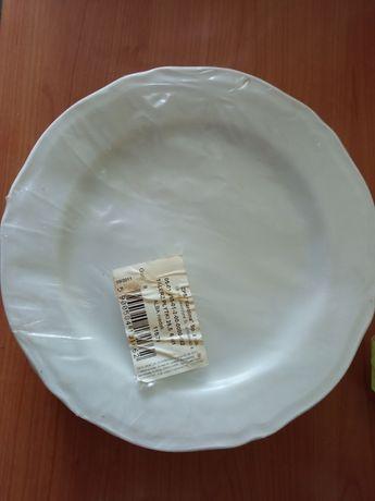 Nowe talerze płytkie duże obiadowe białe