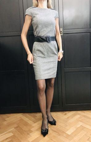 Zara sukienka klasyczna ponadczasowa minimalistyczna wełna ołówkowa