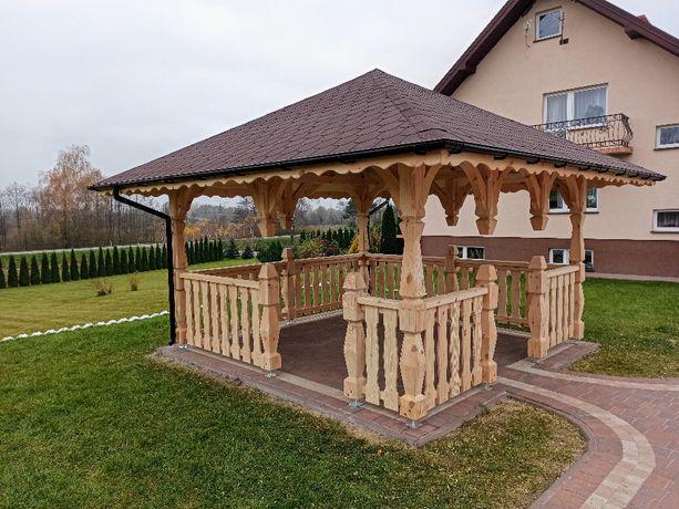 altana ogrodowa drewniana altanka altanki filary slupy ozdobne