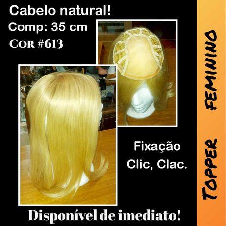 Peruca parcial feminina, Topper, cabelo natural.