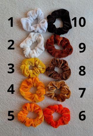 Frotki scrunchies pomarańczowo-brązowe