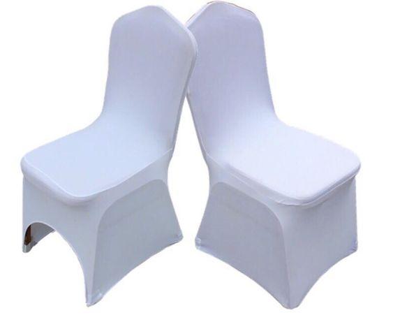 Pokrowce na krzesła białe / elastyczne / IMPREZY / komunie / WESELA